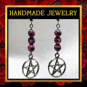 Pentacle Star & Rainflower Stone Earrings #557